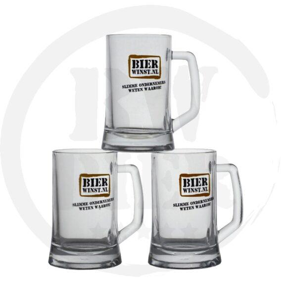 Logo 1 kleur - 6x Bierpul - Bierwinst Goedkoop Horeca Bierpullen Bedrukken