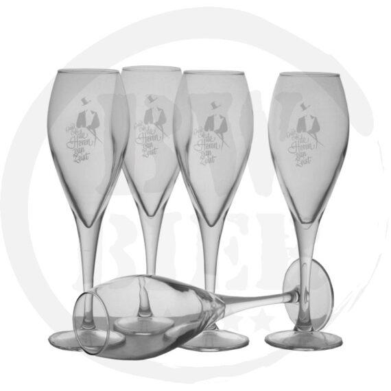 Logo 1 kleur - 6x Champagneglas - Bestellen - Bierwinst Horeca Champagneglazen Bedrukken