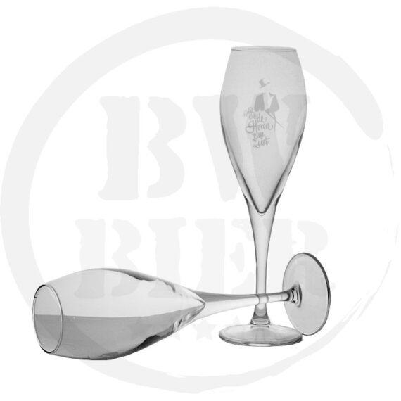 Logo 1 kleur - 6x Champagneglas - Bierwinst Horeca Champagneglas Bedrukken