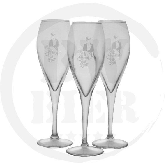 Logo 1 kleur - 6x Champagneglas - Logo - Bierwinst Horeca Champagneglazen Bedrukken